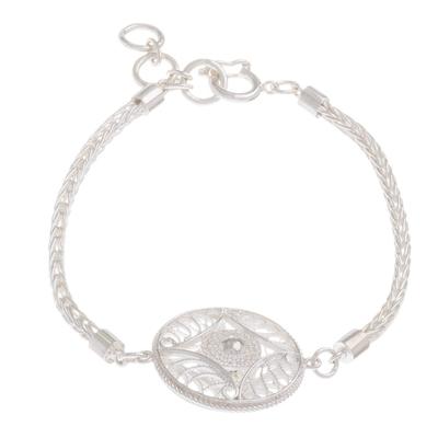 Hypnotic Filigree Pendant on Sterling Silver Bracelet