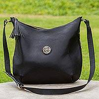 Leather shoulder bag, 'Chic Andes in Black' - Adjustable Leather Shoulder Bag in Black from Peru