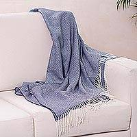 100% baby alpaca throw, 'Indigo Love' - Baby Alpaca Throw in Indigo and Eggshell White from Peru