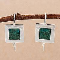 Chrysocolla drop earrings, 'Sublime Green' - Chrysocolla Gem of Peace in Sterling Silver Drop Earrings