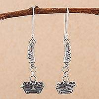 Sterling silver dangle earrings, 'Witness to Power' - Sterling Silver Dangle Earrings with Inca Masks from Peru
