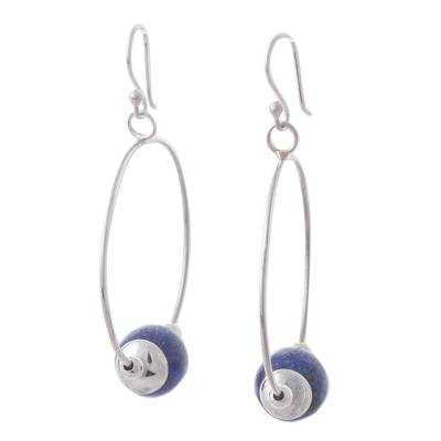 Lapis Lazuli and 925 Sterling Silver Hook Earrings for Women