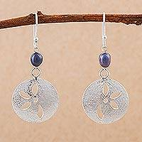 Cultured pearl flower dangle earrings, 'Iridescent Petals' - Peruvian 925 Sterling Silver Cultured Pearl Floral Earrings