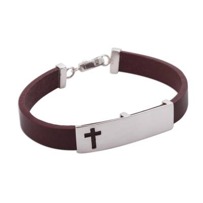 Brown Leather and Sterling Silver with Cross Motif from Peru
