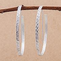 Sterling silver half-hoop earrings Ice Cycles (Peru)