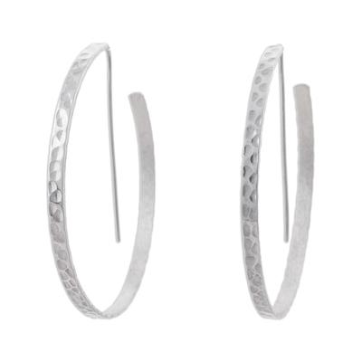 Modern Half Hoop Earrings in Hammered Sterling Silver