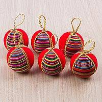 Cotton blend ornaments, 'Poppy Rainbow' (set of 6) - Set of Six Round Cotton Blend Ornaments in Poppy from Peru