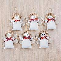 Cotton blend ornaments, 'Navidad Angels' (set of 6) - Set of Six Cotton Blend Beaded Angel Ornaments from Peru