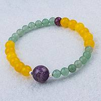 Multi-gemstone beaded stretch bracelet, 'Planetary Rings' - Amethyst Multi-Gem Beaded Bracelet by Peruvian Artisans