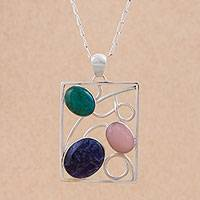 Multi-gemstone pendant necklace, 'Modern Portrait' - Chrysocolla Sodalite and Opal Pendant Necklace from Peru