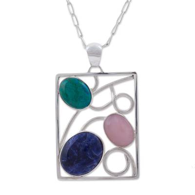 Chrysocolla Sodalite and Opal Pendant Necklace from Peru