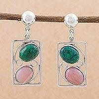Chrysocolla and pink opal dangle earrings,