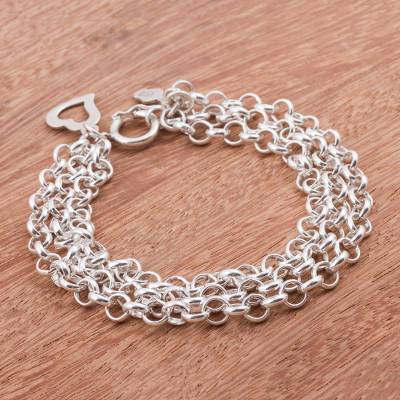 Sterling silver chain bracelet, 'Love Bond' - Three-Strand 925 Sterling Silver Chain Bracelet from Peru