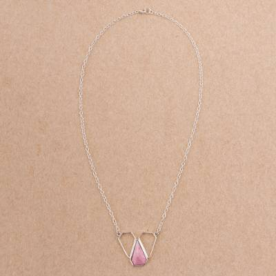 Rhodonite pendant necklace, 'Pink Pyramid' - Rhodonite and Sterling Silver Pendant Necklace from Peru