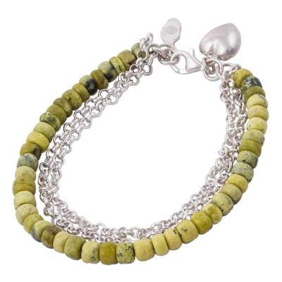 Heart Charm on Serpentine Beaded Bracelet with 925 Silver