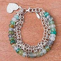 Opal beaded bracelet, 'Romantic Heart' - 925 Silver Heart Charm on Andean Opal Beaded Bracelet