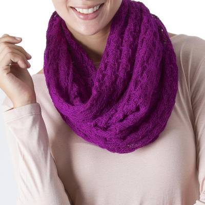 Alpaca blend infinity scarf, 'Fashionable Andes in Magenta' - Knit Alpaca Blend Infinity Scarf in Magenta from Peru