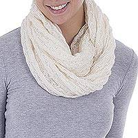 Alpaca blend infinity scarf, 'Fashionable Andes in Ivory' - Hand Woven Alpaca Blend Scarf in Ivory from Peru