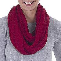 Alpaca blend infinity scarf, 'Fashionable Andes in Cherry' - Knit Alpaca Blend Infinity Scarf in Cherry from Peru