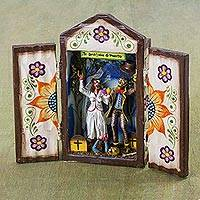 Wood retablo, 'Zombie Matrimony' - Tornillo Wood Zombie Wedding Retablo by Peruvian Artisans