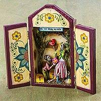 Wood retablo, 'Catrin Matrimony' - Tornillo Wood Wedding-Themed Retablo from Peru