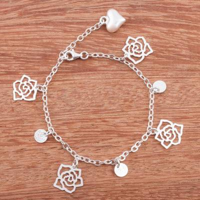 Sterling silver charm bracelet, Forever Beautiful