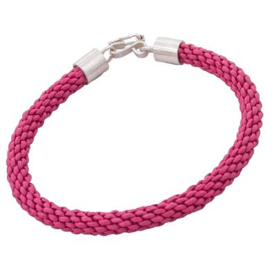 Pink Leather Braided Wristband Bracelet by Peruvian Artisans