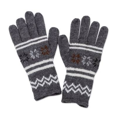 Alpaca blend gloves, 'Slate Stars' - Alpaca Blend Gloves in Slate Grey and Ivory from Peru