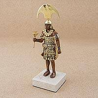 Bronze sculpture, 'Señor Sipan' - Antiqued Bronze Sculpture of a Moche Ruler from Peru