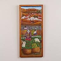 Cedarwood relief panel, 'Chacasina Harvest' - Handcrafted Cedar Wood Farming Scene Relief Panel from Peru