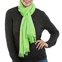 Pima cotton scarf, 'Joyful Color in Green' - 100% Pima Cotton Woven Peruvian Scarf in Kiwi Green
