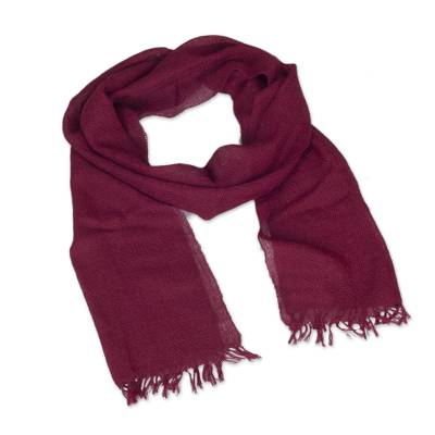 100% baby alpaca scarf, 'Hillside Winery' - Artisan 100% Baby Alpaca Fringed Scarf in Wine from Peru