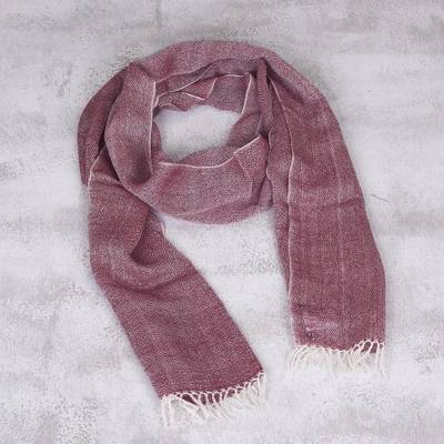 100% baby alpaca scarf, 'Andean Winery' - 100% Baby Alpaca Scarf in Wine and Eggshell from Peru