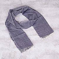 100% baby alpaca scarf, 'Navy Voyage' - 100% Baby Alpaca Fringed Scarf in Navy and Eggshell