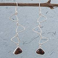Mahogany obsidian dangle earrings, 'Fine Company' - Mahogany Obsidian and 925 Sterling Silver Peruvian Earrings