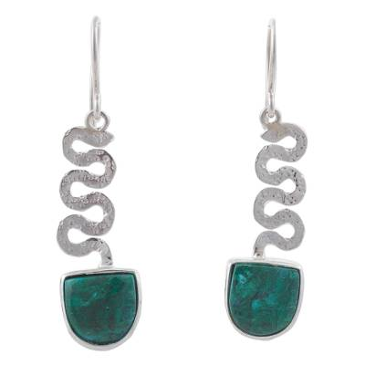 Sterling Silver and Chrysocolla Dangle Earrings from Peru