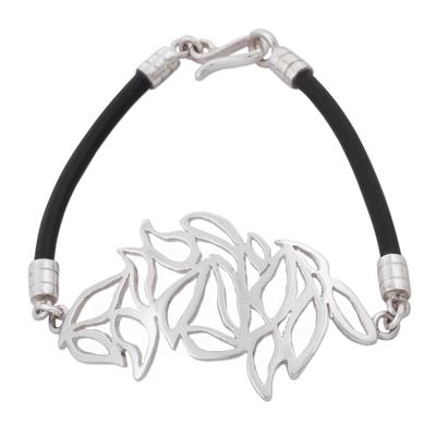 925 Sterling Silver Leaves on Black Caucho Rubber Bracelet