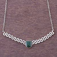 Chrysocolla pendant necklace, 'Green Snake' - Sterling Silver and Chrysocolla Pendant Necklace from Peru