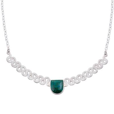 Sterling Silver and Chrysocolla Pendant Necklace from Peru