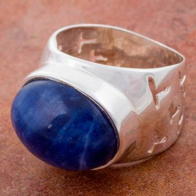 big silver rings - Natural Sodalite on Wide Sterling Silver Ring from Peru