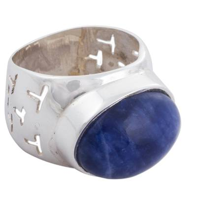 Natural Sodalite on Wide Sterling Silver Ring from Peru