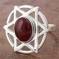 Agate cocktail ring, 'Fire Strong' - Sterling Silver Star Cocktail Ring with Fire Agate from Peru