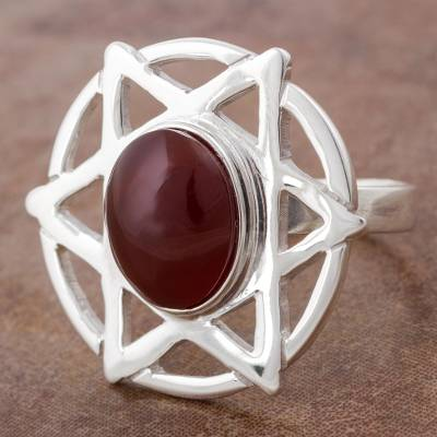 Sterling Silver Star Cocktail Ring with Fire Agate from Peru