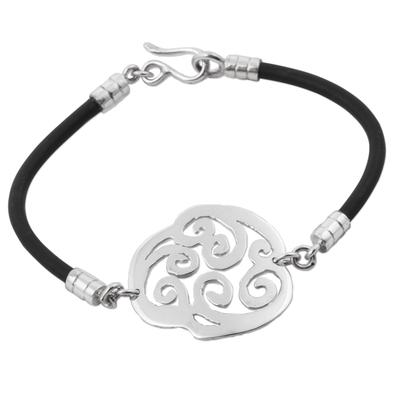 925 Silver Andean Mandala on Black Caucho Wristband Bracelet