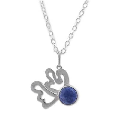 Sodalite and Sterling Silver Pendant Necklace from Peru