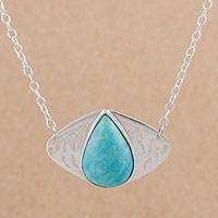Amazonite pendant necklace, 'Droplet Eye' - Amazonite and Sterling Silver Pendant Necklace from Peru