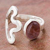 Amethyst wrap flower ring, 'Budding Lilly' - Abstract Flower and Amethyst 925 Sterling Silver Wrap Ring