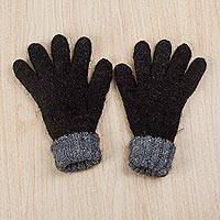 100% alpaca reversible gloves, 'Black Smoke' - 100% Alpaca Reversible Unisex Gloves in Black and Smoke Grey