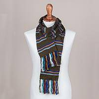 Scarf, 'Euphoric Vista in Olive' - Artisan Crafted Striped Knit Wrap Scarf in Olive from Peru
