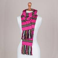 Scarf, 'Euphoric Vista in Fuchsia' - Artisan Crafted Striped Knit Wrap Scarf in Fuchsia from Peru